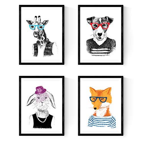 Nacnic Set de Cuatro láminas Animales ILUSTRADOS. Posters para enmarcar con Ilustraciones de Animales. para los Amigos de los Animales y los Amantes del Mundo Natural. Papel 250 Gramos