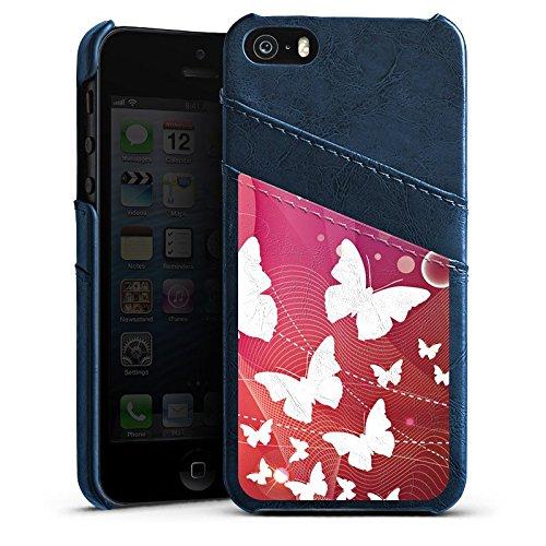 Apple iPhone 5 Housse Étui Silicone Coque Protection Papillons couleurs Ornement Étui en cuir bleu marine