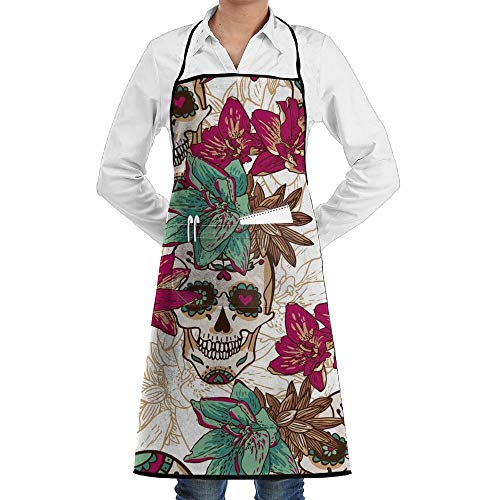 Hipiyoled Grill Aprons Kitchen Chef Bib Retro Halloween Skeleton Skull and Flowers Extra Long Adjustable Ties for ()