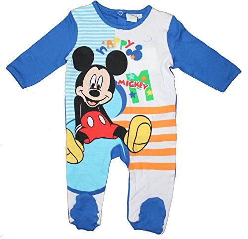 Disney Baby Micky Maus Jungen Strampler Langarm (67cm (6 Monate) Blau)