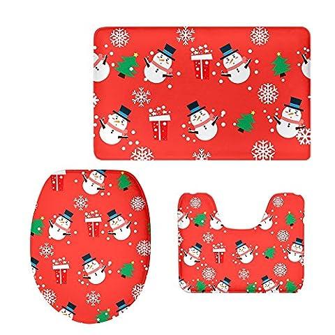 Moolecole Flanell 3 Stücke Wc-matten-sets Weihnachten Muster Badematte Bad Contour Teppich Wc Deckel Abdeckung