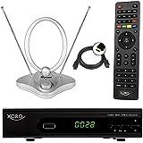 Xoro HRT 7620 FullHD HEVC DVBT/T2 Receiver (HDTV, HDMI, PVR, SCART, USB 2.0, LAN) + 44 dB DVB- T2 Antenne