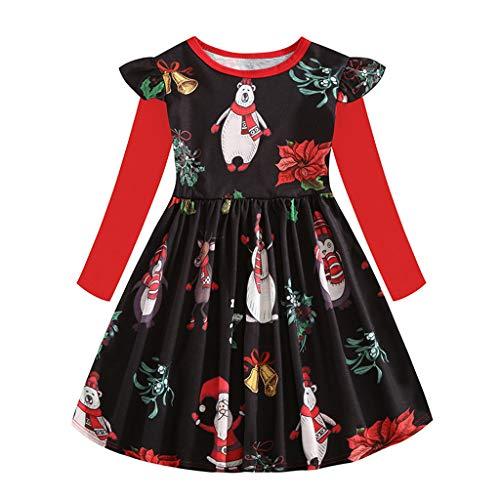 Yuiopmo Mädchen Kleider Langarm Baumwolle Kinder Kleid Süßes Muster Weihnachten Schneemann Urlaub Party Kleide Prinzessin Rock (2-8 Jahre) -