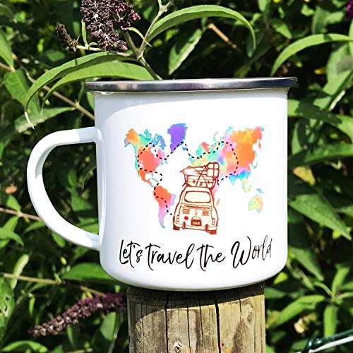Cadouri Camping Emaille Tasse LET'S TRAVEL THE WORLD Kaffeetasse Campingbecher Outdoortasse - 300 ml