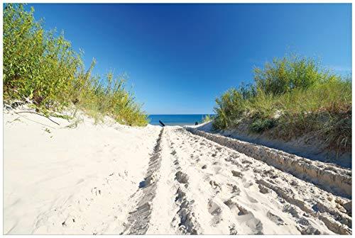 Wallario Acrylglasbild Auf dem Sandweg zum Strand - Blauer Himmel über dem Meer - 60 x 90 cm in Premium-Qualität: Brillante Farben, freischwebende Optik