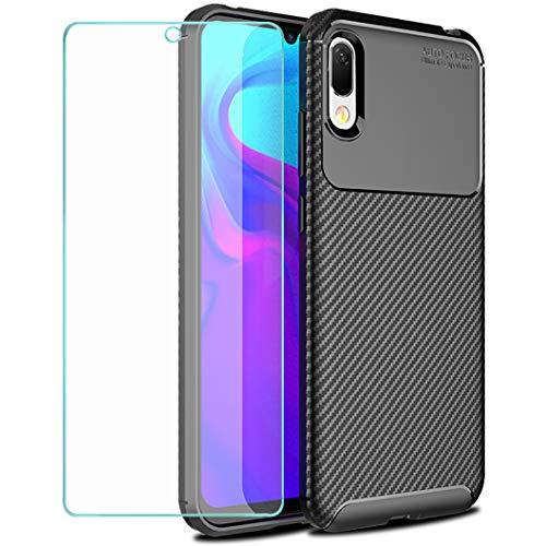 Wanxideng - Coque Huawei Y6 2019 + Protection d'écran en Verre Trempé, [Texture de Fibre de Carbone] ÉtuiArmure Robuste Housse en Silicone TPU Doux Mince - Noir