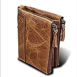 LZHA Herren Classic RFID Echtleder Doppelreißverschluss Brieftasche Bifold Multi Kartenhalter Geldtasche Geldbörse