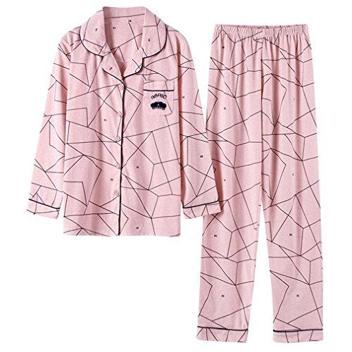 MOXIN Pigiama Femminile Cotone Suit Home Service Primavera e Autunno Cardigan Rosa xl