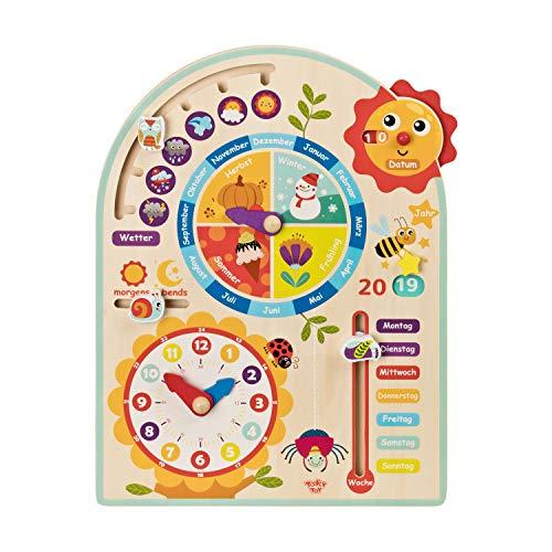 Tooky Toy Kalenderuhr Jahresuhr - Kinder-Spielzeug Holz-Spielzeug Lern-Spielzeug - schult Motorik mit Uhr, Jahreszeiten, Wetter aus Holz mit bunten Motiven