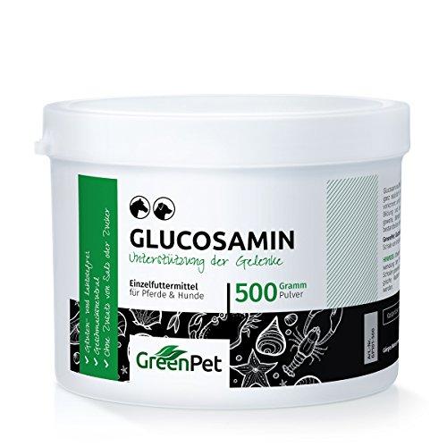 GreenPet Glucosamina in Polvere 500g per Cani e Cavalli, Nuovo Supporto per le Articolazioni, Senza Aggiunta di Sale o Zucchero