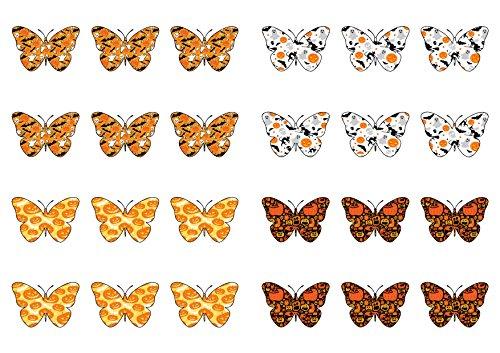 24Halloween gemustert Essbar Wafer Papier Schmetterling Kuchen Topper Dekorationen (Halloween Essbare Topper Kuchen)