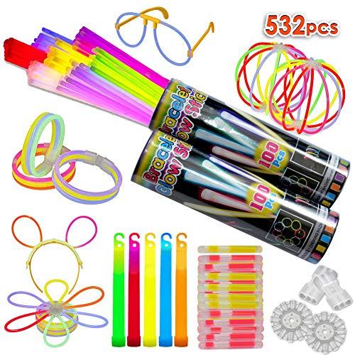 300 Knicklichter, Festival Ausrüstung, Leuchtstäbe Partylichter inkl.200 x 2D-Verbinder, 5 x Kreisverbinder, 6-Farb-Mix(532 Stück)
