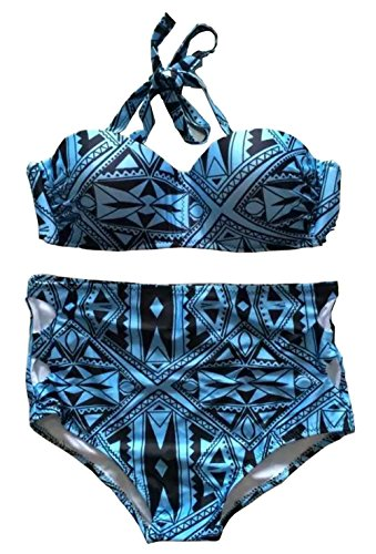 Lannorn Damen Rockabilly Bikini Set Retro Blumen Drucken Swimsuit High Waisted Neckholder Plus Size Zweiteilig Badeanzug. Blau