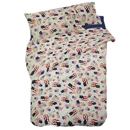 R.p. completo lenzuola america bandiere usa - made in italy - 100% cotone a trama fitta - 1 piazza con sotto con angoli misura maxi cm 90x210