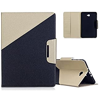 Aeeque® Galaxy Tab A6 10.1 Wallet Cover, Luxury [Black and Gold] Pattern Premium PU Leather Flip Magnetic Cover Tablet Stand Protective Case for Samsung Galaxy Tab A 10.1