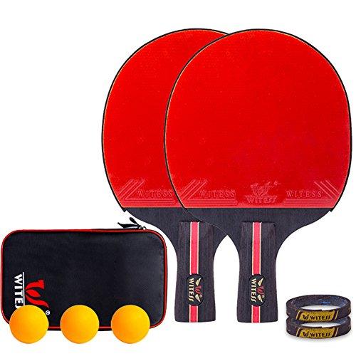 xianw Premium-Tischtennis-SCHL?ger-Set,Ping Pong paddel - 3 Kugeln, Professionell Freizeit Spiel Racket, Praxis Ausbildung bat, Zubeh?r zu bündeln Portable kit Cover case Tasche-B