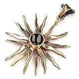 Drachensilber Sonne Schmuck Anhänger mit Onyx gefasst Bronze Kette, Länge mit Öse: 4,5cm, Kettenanhänger inkl. Band, Bronzeschmuck