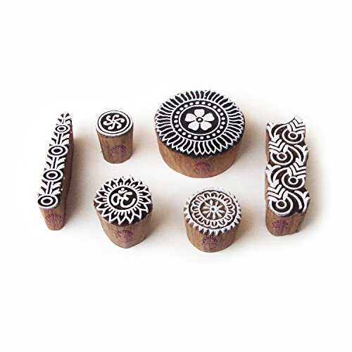Exclusive Round and Religious Pattern Wooden Printing Blocks (Set of 6)