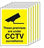 Smarts-Art 6 X Cctv Signs Self Adhesive 100Mm X 75Mm In Or Outdoor