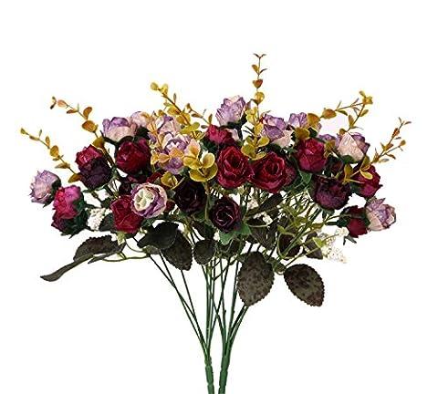 Houda Artificial Silk Fake Flowers Leaf Rose Wedding Floral Decor Bouquet,Pack of 2 (Purple Coffee)