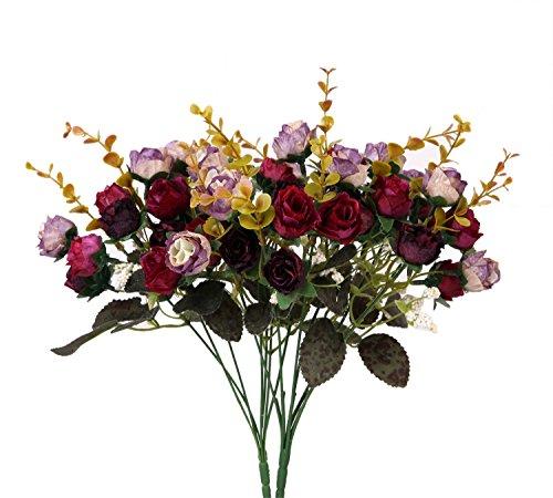 houda - bouquet di rose artificiali in seta, rami con boccioli e foglie, decorazione floreale per matrimonio, confezione da 2 purple coffee