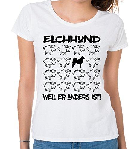 Siviwonder WOMEN T-Shirt BLACK SHEEP - ELCHHUND Jagd Jagdhund - Hunde Fun Schaf Weiß