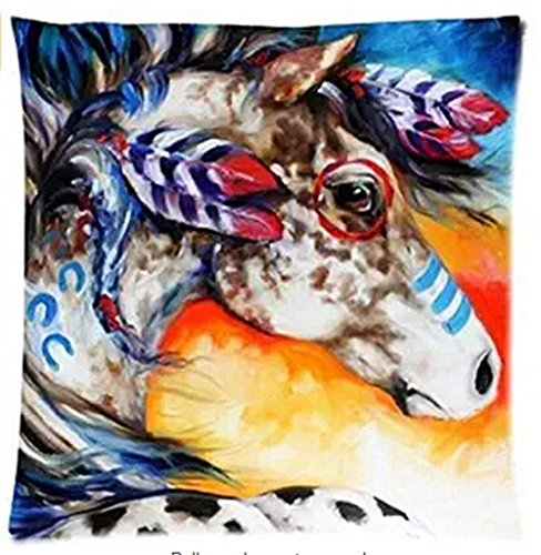 Bag shrots Cotton Linen Square Decorative Throw Pillow Case Cushion Cover Hot Indian Horses Design Printed 18