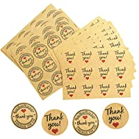 Thank You Sealing Stickers, 360 Pcs Kraft Paper Round Label Sticker Self Adhesive Thank You Sticker for Gift Birthday Wedding Party Packaging Decoration (Diamter 37 mm)