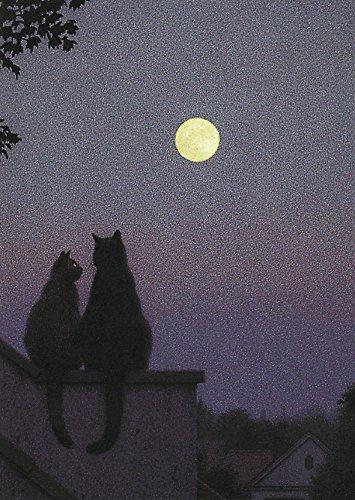 """Postkarte A6 • 2843 """"Vollmond"""" von Inkognito • Künstler: Quint Buchholz • Liebe & Romantik • Katzen"""