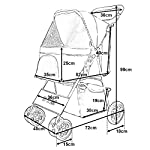 BTM Pet Travel Stroller Dog Puppy Pram Jogger Cat Pushchair with 4 Swivel Wheels (Red) 11