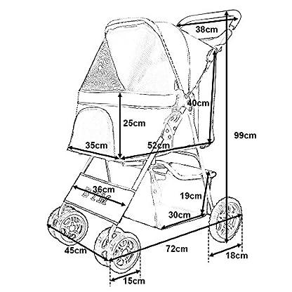 BTM Pet Travel Stroller Dog Puppy Pram Jogger Cat Pushchair with 4 Swivel Wheels (Red) 5