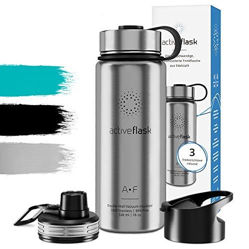 Trinkflasche Edelstahl 1l 500ml ACTIVE FLASK + 3 Trinkverschlüsse - BPA frei, Auslaufsicher, Kohlensäure geeignet - Wasserflasche Thermosflasche Thermo Isolierflasche Sport Wasser Flasche Kinder Tee