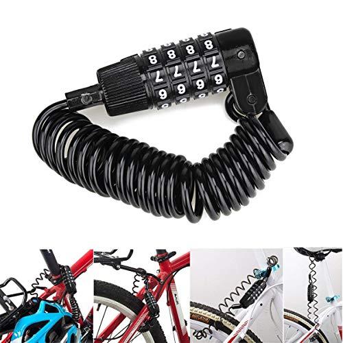 Intbase Cerradura de Bicicleta, Mini portátil antirrobo reiniciable Cerradura de Bicicleta de 4 dígitos Ciclismo Cable Combinado Código Bloqueo Viaje Mayor Maletas de Equipaje Cerradura Casco