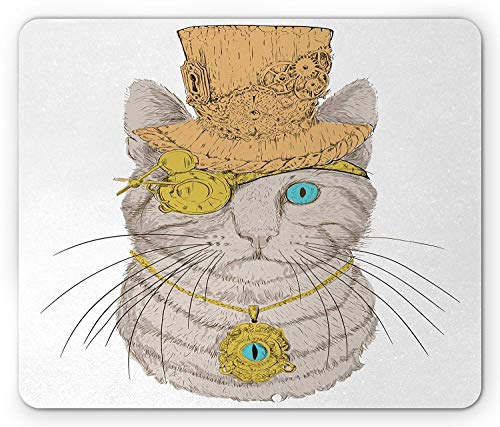 Cat Mouse Pad, Cute Punk Pirate Cat with Eye Collar Gothic Medieval Inspired Kitty Vintage Design, Standard Size Rectangle Non-Slip Rubber Mousepad, Orange Brown