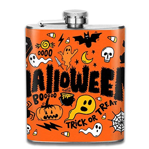 7 Oz Stainless Steel Flask Cartoon Halloween Ghosts Collage Fashion Portable Stainless Steel Hip Flask Whiskey Bottle for Men and Women 7 Oz (Halloween Ghost Cartoon)