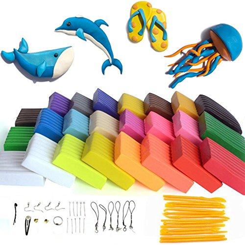 Rubikliss Polymer Ton 24-Farben Clay Plastilin Backofen Backen weichen DIY Ton Moulding Prozess Spielzeug Set Kinderknete beste Geschenke Weihnachtsgeschenke Lernspielzeug (24) - Clay Polymer Farbe