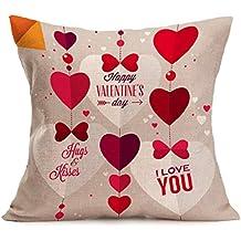 Fundas de Cojines,SHOBDW Regalo de San Valentin Amantes Que pintan Rojo Lino Tiro Cintura