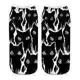 Kinlene Calcetines cortos unisex divertidos populares 3D Cat Impreso tobilleras Calcetines Calcetines casuales