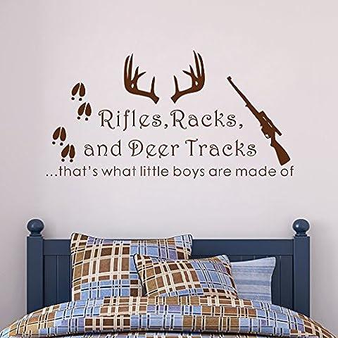 Adesivo da parete Decor fucili Rack, Cervo Tracks quello che i bambini sono fatti di, cameretta bambino, tema caccia Camo Deer stanza culla (Nero, 12