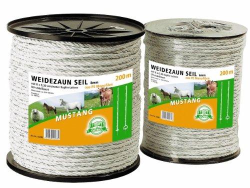 Göbel Weidezaun Elektroseil 200m 8mm 6 x 0,40 Niroleiter 1,20 Ohm/m winterfest lange Lebensdauer