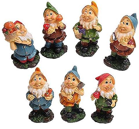 Mini Gnomes Gnomes Lot de fée de jardin avec des champignons et des outils de 7pcs