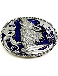 Howling Wolf Belt Buckle in Blue American Western Themed Authentic Siskiyou Branded Product