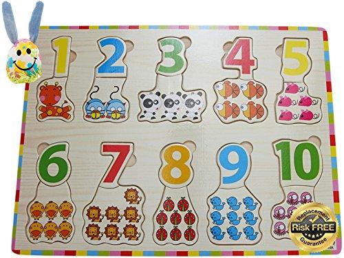 Preisvergleich Produktbild EasY Kid's ToY Holzpuzzle Bunte Zahlen 1-10 mit Tieren, Bestes Holzspielzeug für Spielerisches Lernen von Zahlen Motorikspielzeug ab 2 Jahre Rahmenpuzzle Geschenk für Kinder, Kinderpuzzle für Spiel Spass Freude