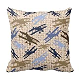 VYPHN Vintage Biplane Burlap Print Airplane Pattern Square Custom Throw Pillow Case Cushion Cover Pillo Baby Pillow Cover 18 * 18