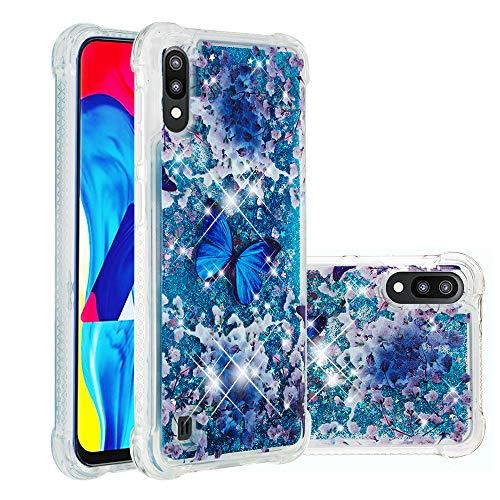 Miagon Flüssig Hülle für Samsung Galaxy M10,Glitzer Weich Treibsand Handyhülle Glitter Quicksand Silikon TPU Bumper Schutzhülle Case Cover-Blau Schmetterling