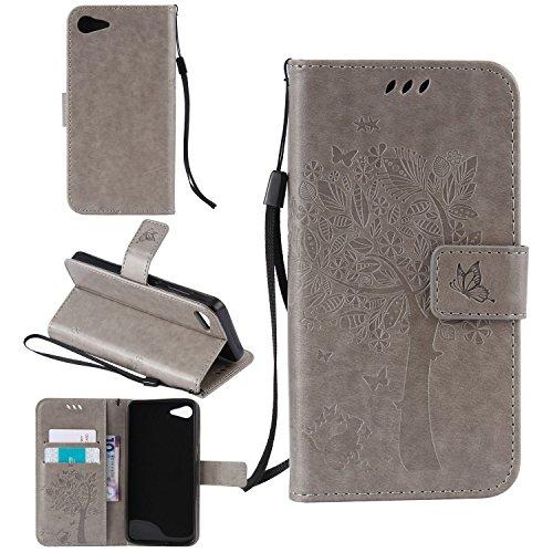 Tasche für Lenovo ZUK Z2 (5 zoll) Hülle, Ycloud PU Ledertasche Flip Cover Wallet Case Handyhülle mit Stand Function Credit Card Slots Bookstyle Purse Design Katze Baum Schmetterling Geprägt Grau