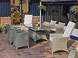 Destiny Sitzgruppe Carlos Beige Garnitur Polyrattan Gartenmöbelset 4+2 Esstischgruppe Lounge Gartenmöbel