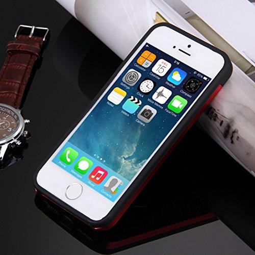 iPhone Case Cover Pour iPhone 5 & 5s & SE Texture brossée Metal + TPU Étui de protection avec support de support d'anneau ( Color : Silver ) Red