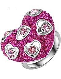 Yiwu Crystal PINK 18K ROSE GOLD METAL RING Fashion Jewellery For WOMEN