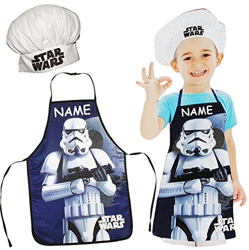 Unbekannt 2 TLG. Set: Kinderschürze + Kochmütze -  Star Wars - Stormtrooper  - incl. Name - Größenverstellbar - fleckabweisend - Schürze / Jungen - beschichtet - Koch..